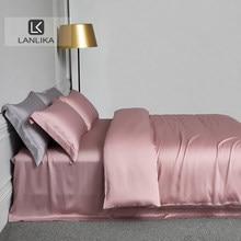 Lanlikaピンクシルク 100% 寝具セット美容あなた女王キングキルトカバー枕カバーはホームベッドセット