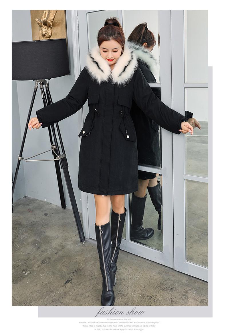 -30 градусов новый 2019 Для женщин зимняя куртка с капюшоном и меховой воротник Женская зимняя обувь Пальто Длинные парки с Меховая подкладка п... 31