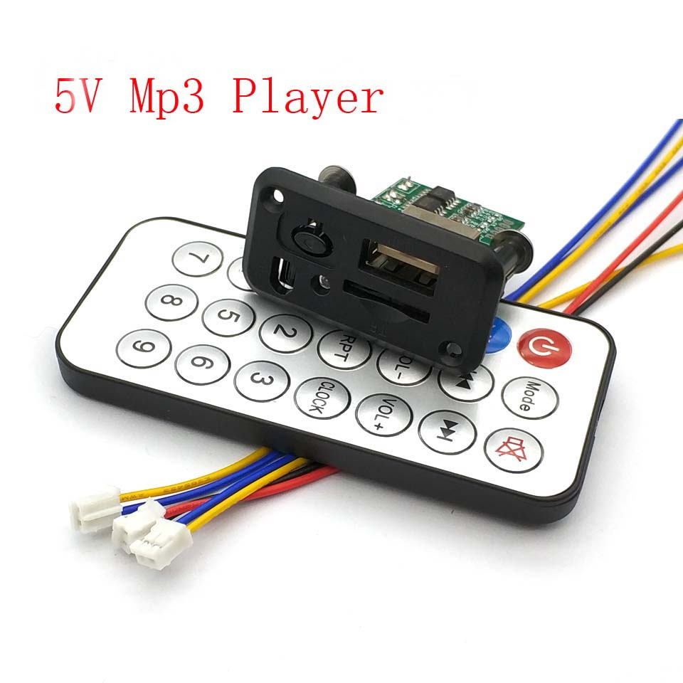 Mini 5V MP3 Decoder Board 3W*2 Decoding Module MP3 WAV U Disk TF Card USB Amplifier Speaker Audio Board With Remote Control Wire