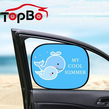 2pcs/Set Cartoon Car Sunshade Auto Side Window Sun Shades Windshield Protector Foldable Interior Accessories image