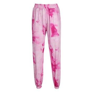 Rockmore Tie Dye Pencil Pants Plus Size Womens Streeetwear High Waisted Joggers Pink Harajuku Trousers Pockets Loose SweatPants 11