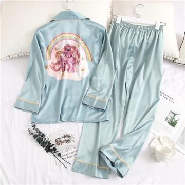 HaloSweet Spring Sleepwear Slik Long Sleeves Unicorn Pajamas Suit Women Two Pieces Pants Set Home Wear Female Nighty Lady