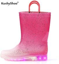 Kushyshoo Peuter Jongen Regen Laarzen Met Licht Kids Shining Schoenen Meisje Pvc Regen Schoenen Led Gradiënt Roze Bling Kids Schoenen