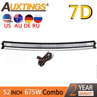 Auxtings 52inch 675w Curved 3-rows waterproof high power high lumens tri rows 52'' 7D LED light bar offroad Truck Car 12V 24V
