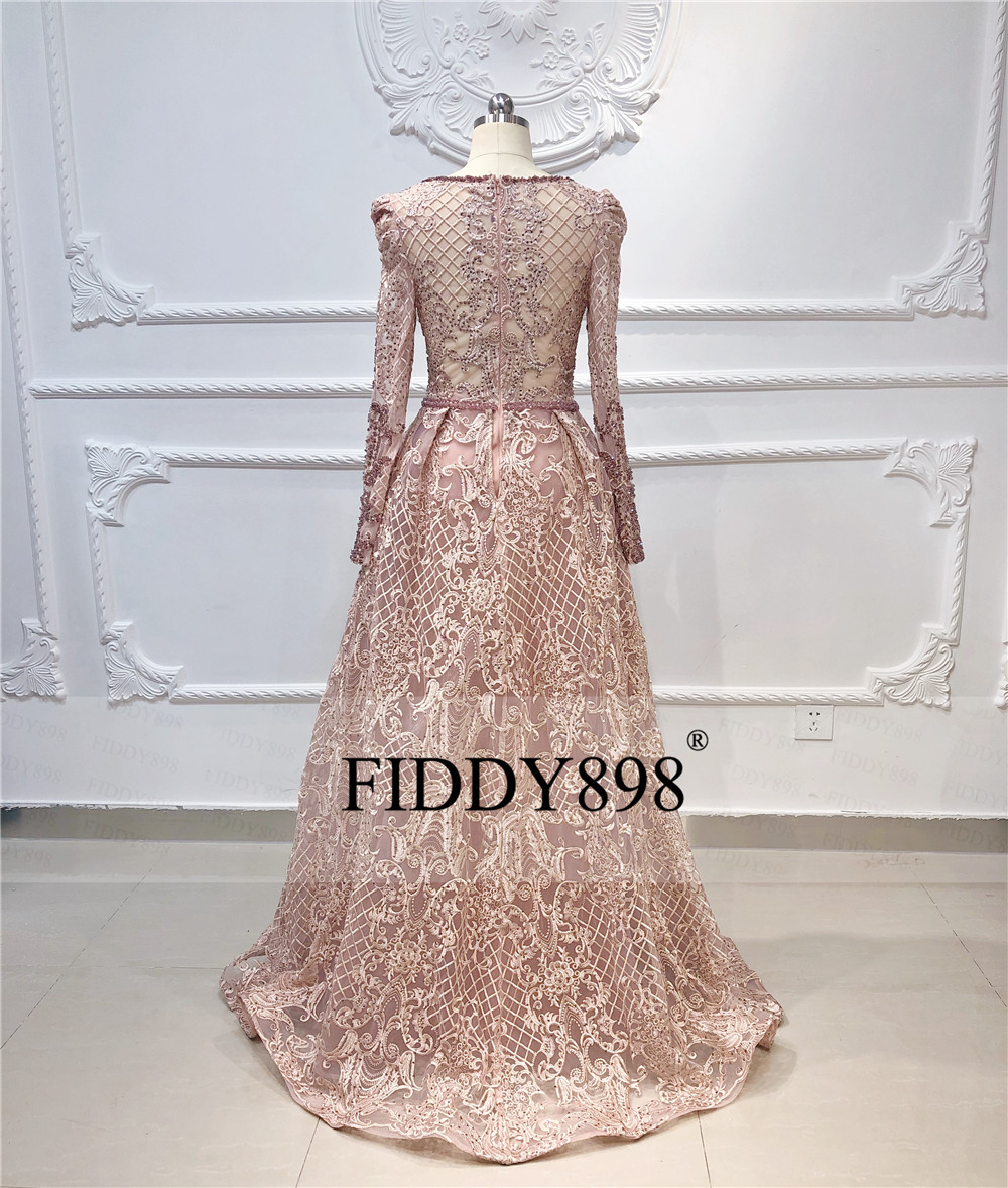 Image 3 - Luxury Dubai Evening Dresses Long Sleeves V Neck Sheer Top Beaded Prom Dress 2019 Crystal evening Gown Lace Vestido de FiestaEvening Dresses   -