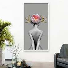 Nordic Poster Flower Nude Girl Canvas Paintings Wall Art Prints for Living Room Modular Fashion Pictures Decor  No Framed