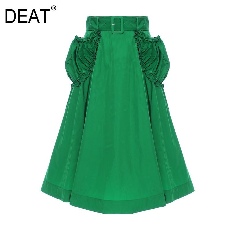 DEAT 2020 New Spring And Summer Fashion Clothing Women High Waist Ruffles A-line Elastic Waist Belt Pocket Halfbody Skirt WL4100