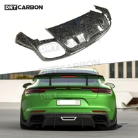 Dry Carbon Fiber Rear Diffuser Forged Carbon Bumper Lip Guard Spoiler For Porsche Panamera 971 2017 2018 2019 Car Styling 1