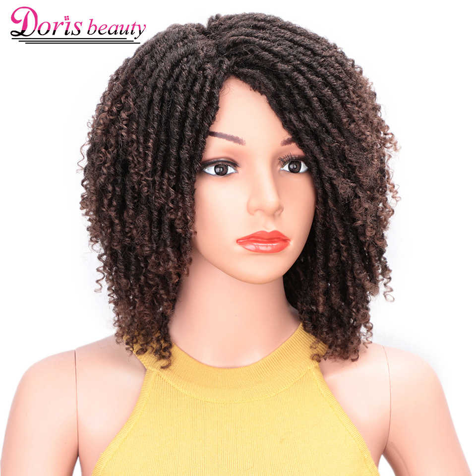 14 Inch Dreadlock Hair Wig Soft Short Synthetic Wigs For Black Women Ombre Brown Curly Twist Hair Faux Locs Crochet Braids Wigs