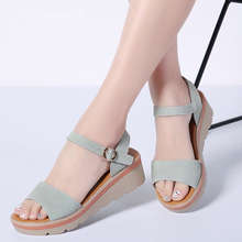 2020 Women Sandals Summer Suede Leather Thick Heel Wedge Sandals Platform Sandals Ladies Ankle Strap Flat  Shoes peep toe Low urban decay angled brow brush