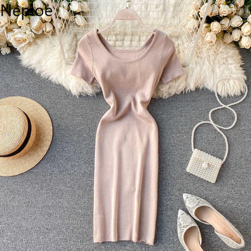 Neploe camisola de malha feminina 2020 sólido o pescoço oco para fora vestidos de cordão elegante estiramento cintura alta vestidos femininos 81006