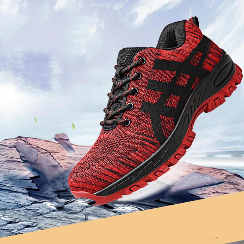 Wysokiej jakości stali nierdzewnej szef bezpieczeństwa buty męskie buty robocze BHP Unisex oddychająca siatka buty robocze XL 37-46 gumowe do biegania na świeżym powietrzu
