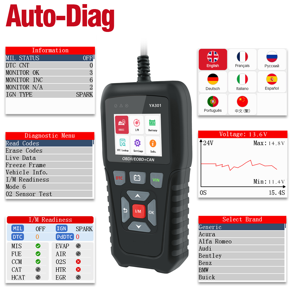 udiag Obd2 Scanner Car Code Reader Diagnostic Tool Error Code Readers Auto Engine Trouble Scanner for Cars Universal Automotive Tools Check Indicator Light MIL Erase Fault Codes Identify Vehicle VIN