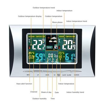 New Wireless Weather Station, Indoor Outdoor Colorful Screen Thermometer With Temperature And Time Alarm, Temperature And Humidi