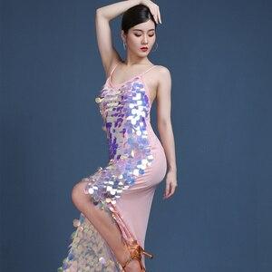 Image 4 - Vestido largo de gitana para mujer, traje de baile de salón con lentejuelas brillantes, falda personalizada, ropa Oriental