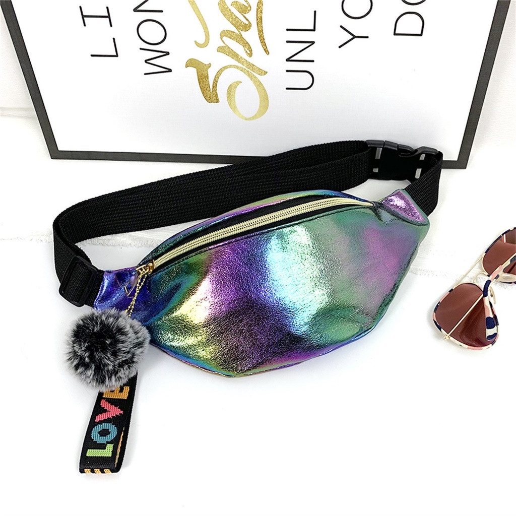 Women Laser Waist Bag 2019 Fanny Pack Running Zip Belt Money Pouch Travel Holiday Bag Holographic Pockets Ladies Chest Bag#P