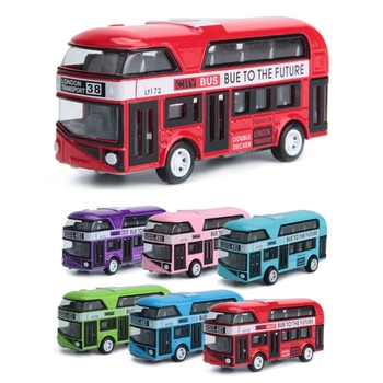 Drop Ship 1:43 Car Model Double-decker London Bus Toys Alloy Diecast Vehicle Toys For Children Gifts (Random Color) image