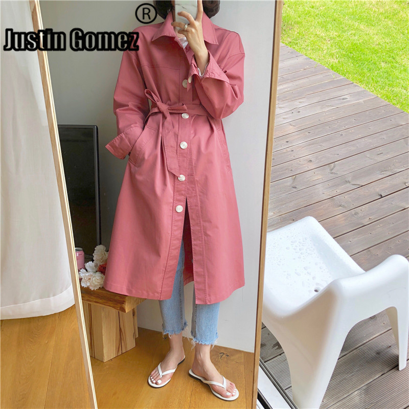 Long Tie Waist Coat Women Comfortable Temperament Holiday Outdoor Long   Trench   Sweet Color Single-breasted Loose   Trench   Coat