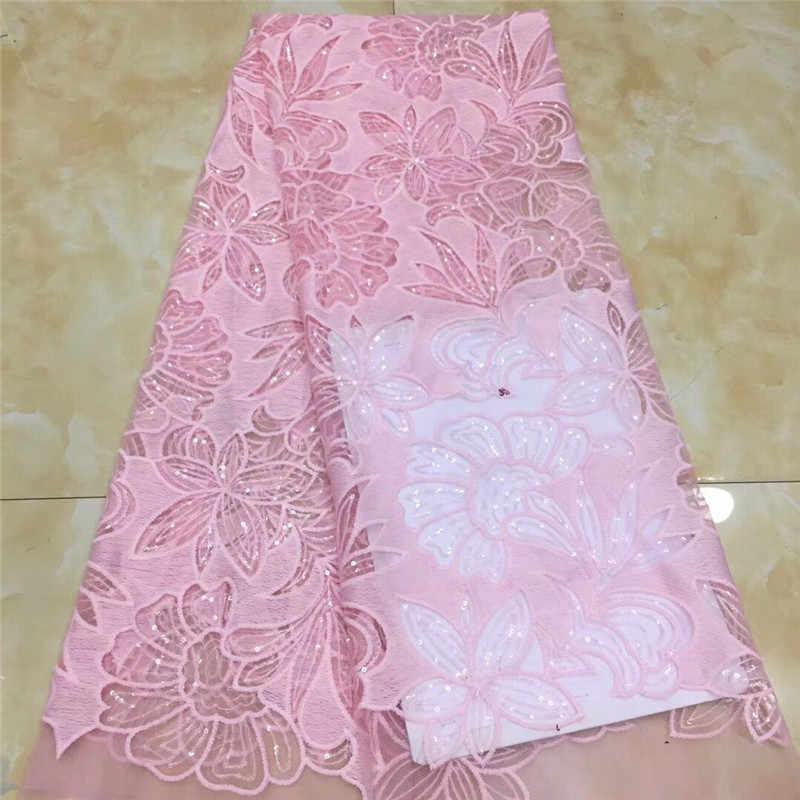 2020 bleu ciel haute qualité paillettes africaines dentelle tissu français Net broderie Tulle dentelle tissu pour nigérian robe de soirée de mariage