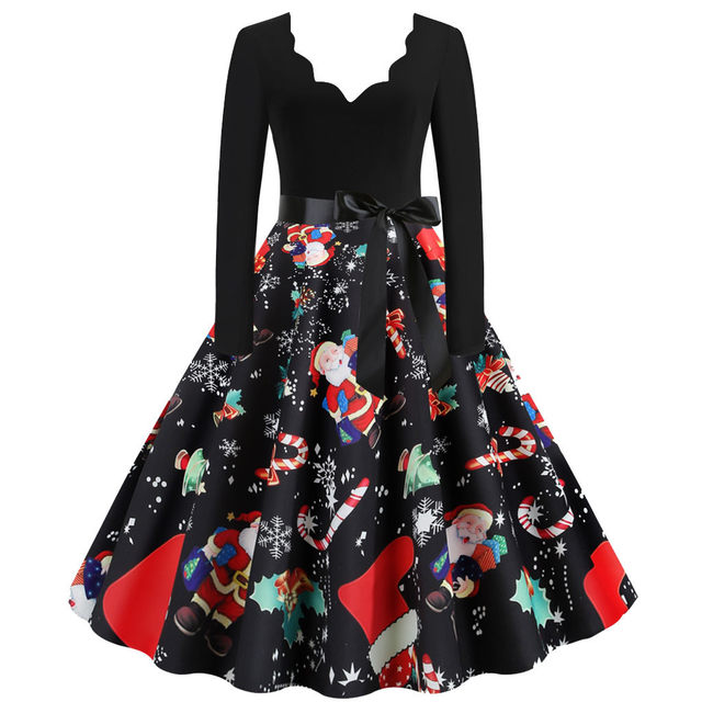 11 Color Vintage Dress Women Plus Size 3XL Sexy V-Neck Long Sleeve Christmas платье Bow Musical Note Print Flare Dress Wholesale 53