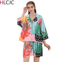 Женская шелковая пижама, атласная пижама, одежда для сна, модная Пижама с коротким рукавом для девочек, ночная рубашка, домашняя одежда, нови...