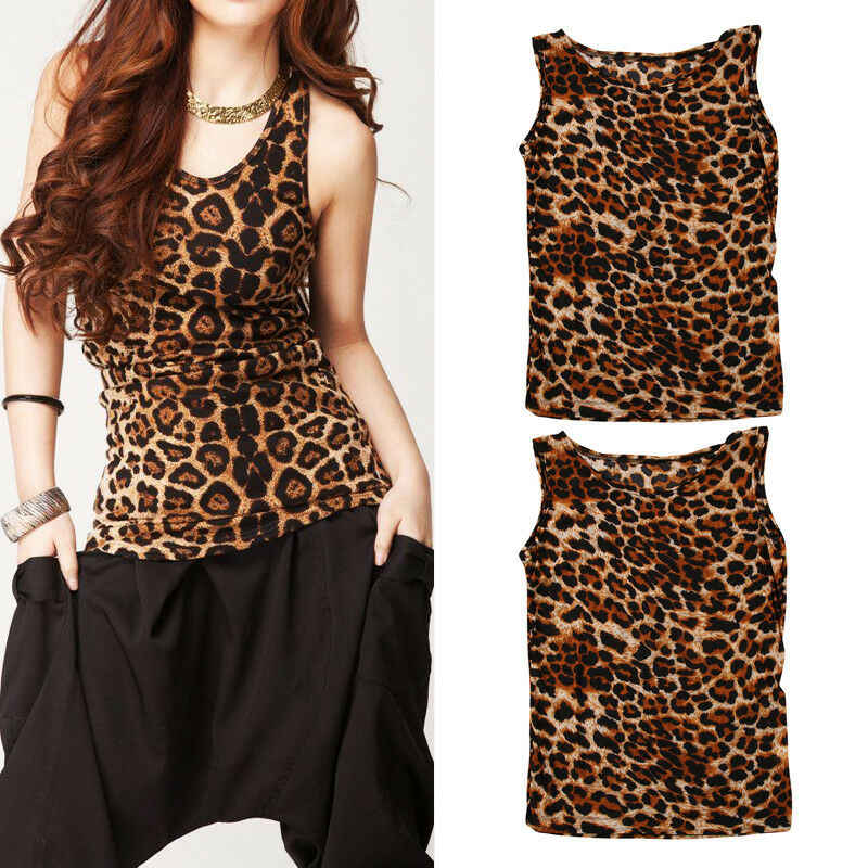 Fashion Women Leopard Vest Top Sleeveless Tank Tops Casual Sweatshirt Clothes