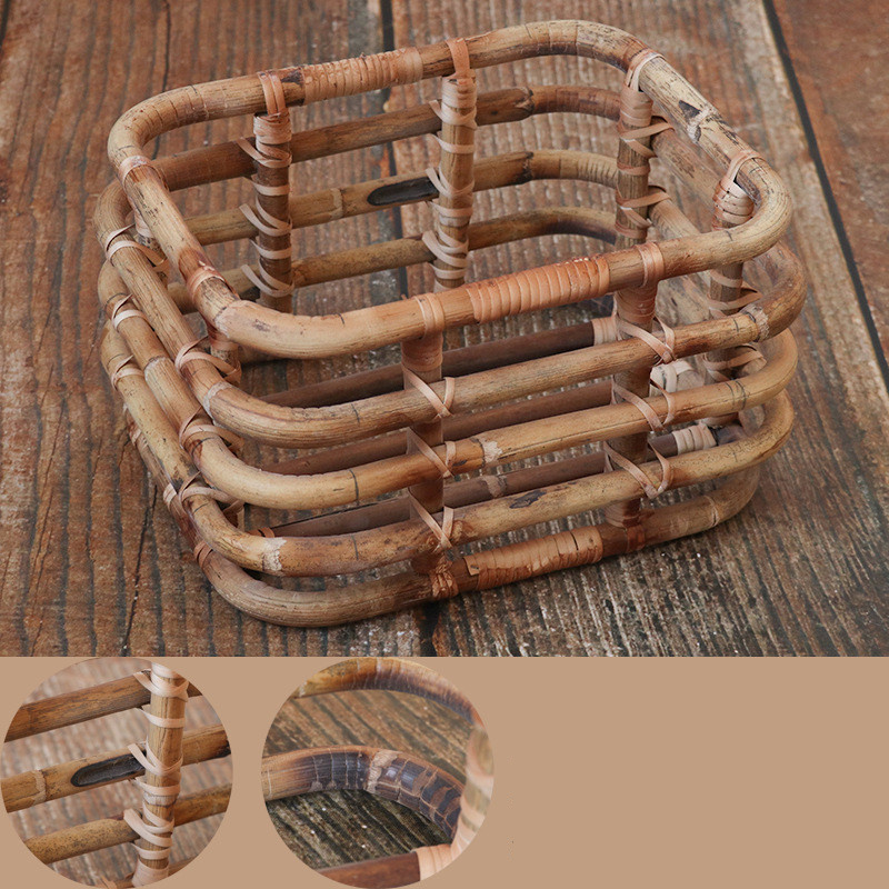New Baby Photo Props Large Size Vintage Rattan Basket Handmade Photography Chair Studio Props Baby Photo Shooting Container Sofa