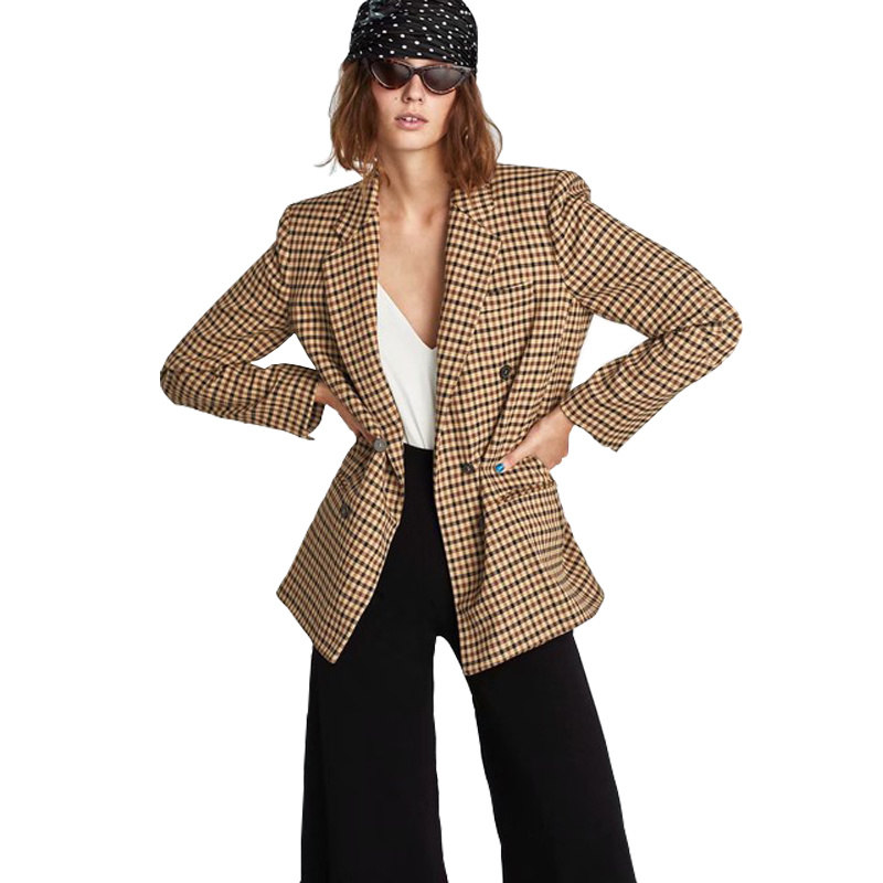 Fashion Women Blazers 2019 New Checkered Double-breasted Blazer Long Sleeve V-neck Boho Women Clothing Blazer Casual Long