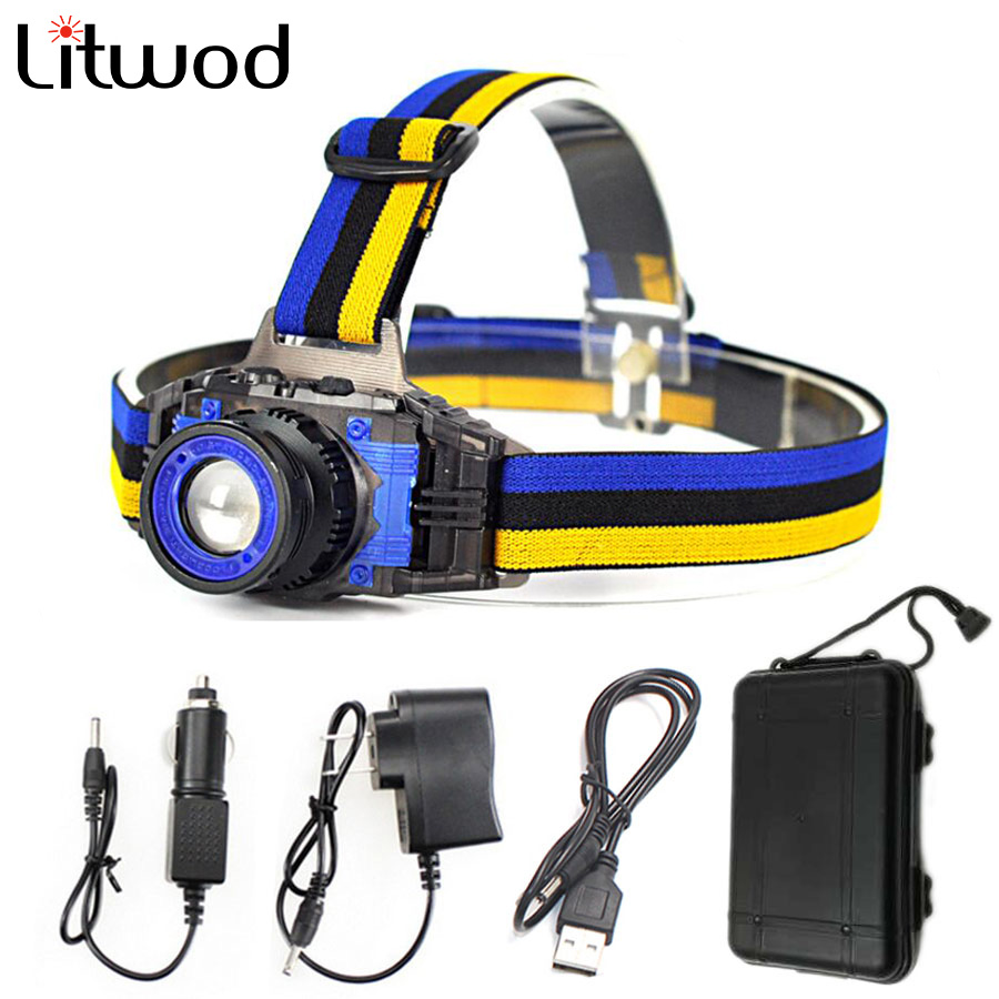 Headlamp Headlight Head Lamp Light 2000 Lumens Led Bulbs Litwod Build-in Rechargeable Battery Q5 Hunting / Fishing Cycling And