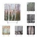 Cortina de banho para banheiro personalizado birch tronco floresta decoração para casa cortina de chuveiro ganchos de tecido à prova dwaterproof água #180417-01-27