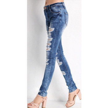 2021 New Fashional Casual Women's Solid Colour Holes Excoriation Pockets High-Waisted Slimming Skinny Jeans Long Pencil Trousers 2