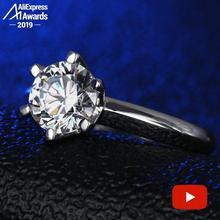 2 カラットラウンドカットS925 スターリングシルバーリングsonaダイヤモンドソリティアファインリングユニークなスタイルの愛の結婚式の婚約