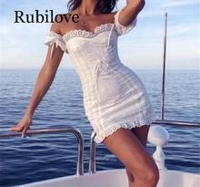 Rubilove 2019 white hollow out dress Vintage tie wrap front midi Dress Print summer Short Sleeve vestidos