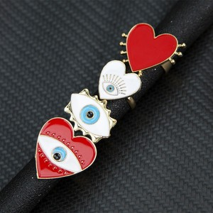 Новинка 2020, модные регулируемые богемные золотые геометрические кольца в форме сердца, эмаль, красный, белый цвет, кольца на палец со сглаза,...