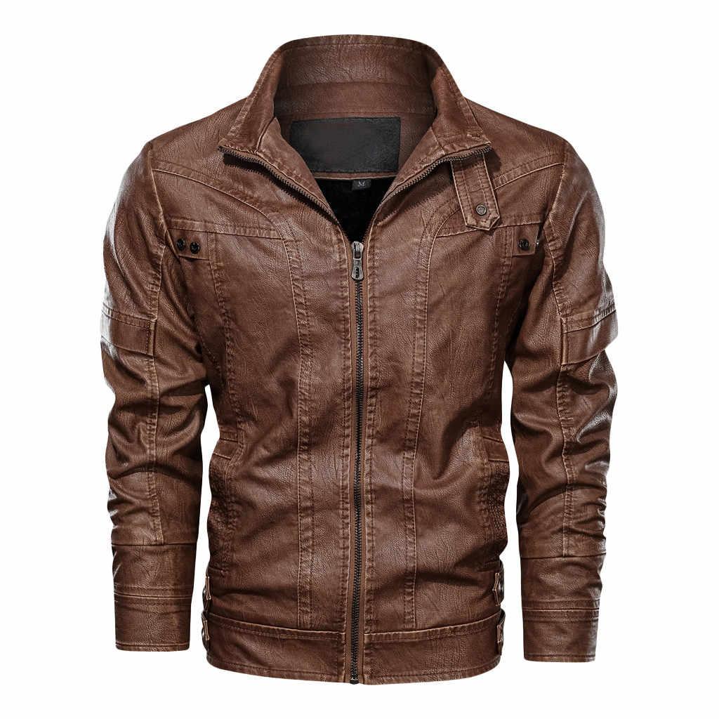 男性の秋冬ヴィンテージジッパースタンド襟固体模造革のコート 2019 オートバイのジャケット男性コートブランド服