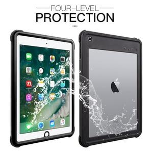 Image 2 - Pour iPad 9.7 2017 2018 étui étanche antichoc anti poussière housse de tablette avec support réglable intégré protecteur décran