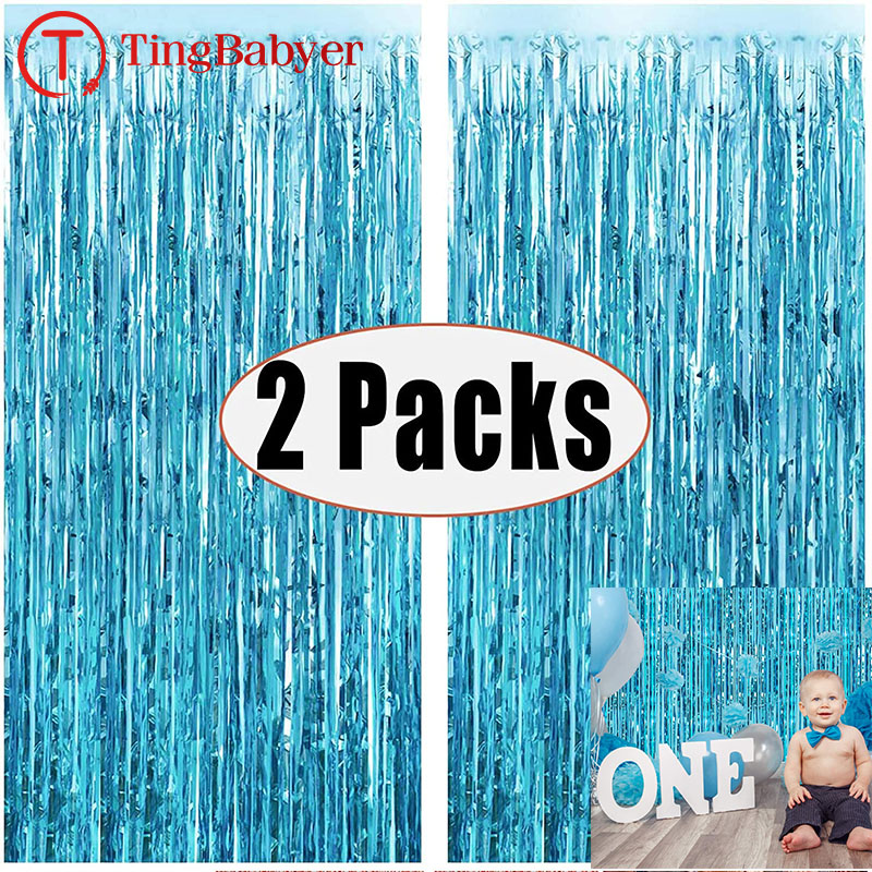 2Pack 1X2M Blue Rain Tinsel Curtain First Happy Birthday Decoration Adult Kids Baby Boy Girl 1st One Year Party Garland Decor