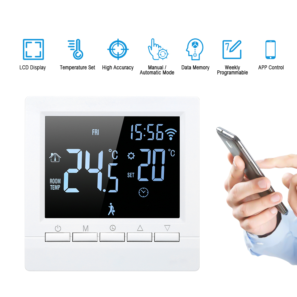 Programmable Smart WiFi Digital Heating Thermostat App Control LCD Touch Screen