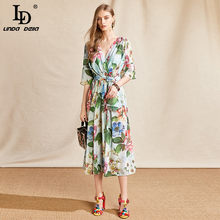 LD LINDA DELLA Fashion Designer Summer Chiffon Dress Women scollo a v stampa floreale cintura con fiocco Slim Big swing Midi Dress Vestoidos