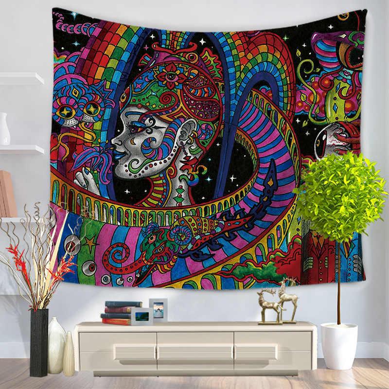 Boho Folk-custom настенный гобелен Печатный Фон тканевый Настенный Ковер подвесной домашний декор пляжный коврик принадлежности для колдовства 75*90 см 009