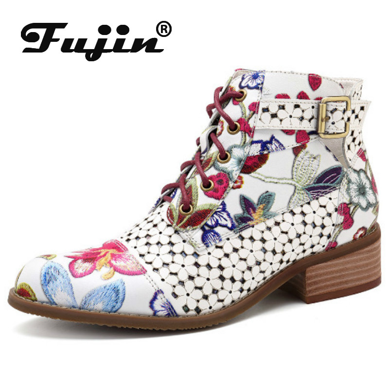 Fujin Women Boots Flowers Winter Retro Autumn Large-Size New 35-43 And Ankle Matching