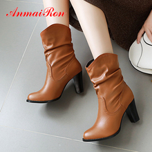 ANMAIRON Round Heels Slip-On PU Winter Boots Women Ankle Round Toe Autumn Solid Short Plush Women Shoes Pleated Boots Winter стоимость
