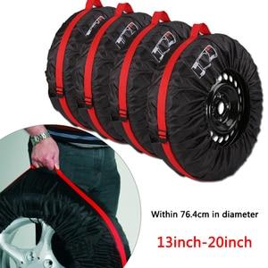 Image 2 - 1pc/4 stücke Auto Ersatz Reifen Abdeckung Fall Polyester Auto Rad Reifen Lagerung Taschen Fahrzeug Reifen Zubehör Staub proof Protector Styling
