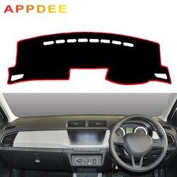 APPDEE Car Auto wnętrze deska rozdzielcza pokrywa mata na deskę rozdzielczą Cape pad dywanik Dash Dashmat 2 warstwy dla Skoda Fabia 2015 2016 2017 2018 2019