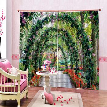 green curtains garden curtains photo Blackout Window Drapes Luxury 3D Curtains For Living room Bed room Office Hotel Home