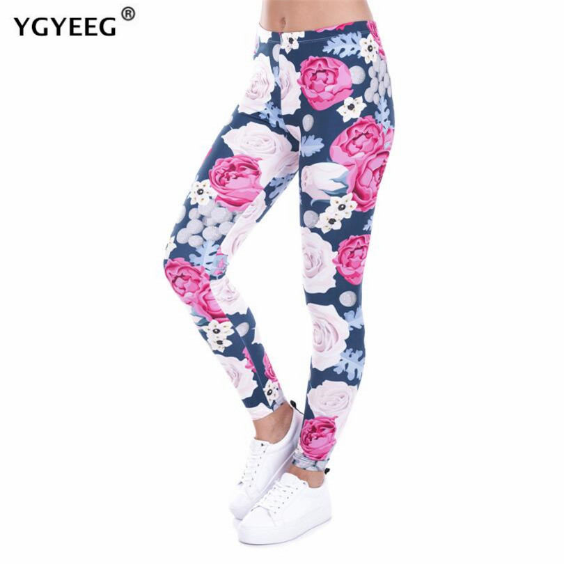 YGYEEG Women Leggings Retro Roses Printing Fitness Legging Elegant Sexy Elasticity Leggins Sexy Push Up Leggings Women Clothes