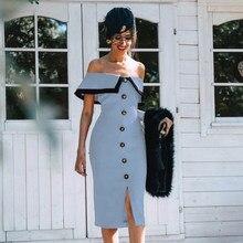 Adyce 2021 verano nuevo mujeres hombro Midi Club venda Sexy vestido botones azul vestido de noche de celebridad vestido de fiesta de la pasarela
