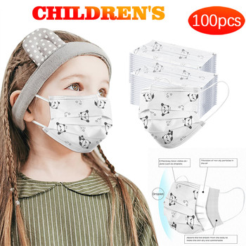 100PC  Child  Bike  Outdoor Visors double layer protection Floral Print Printing Windproof pure cotton 3ply Ear Loop *81