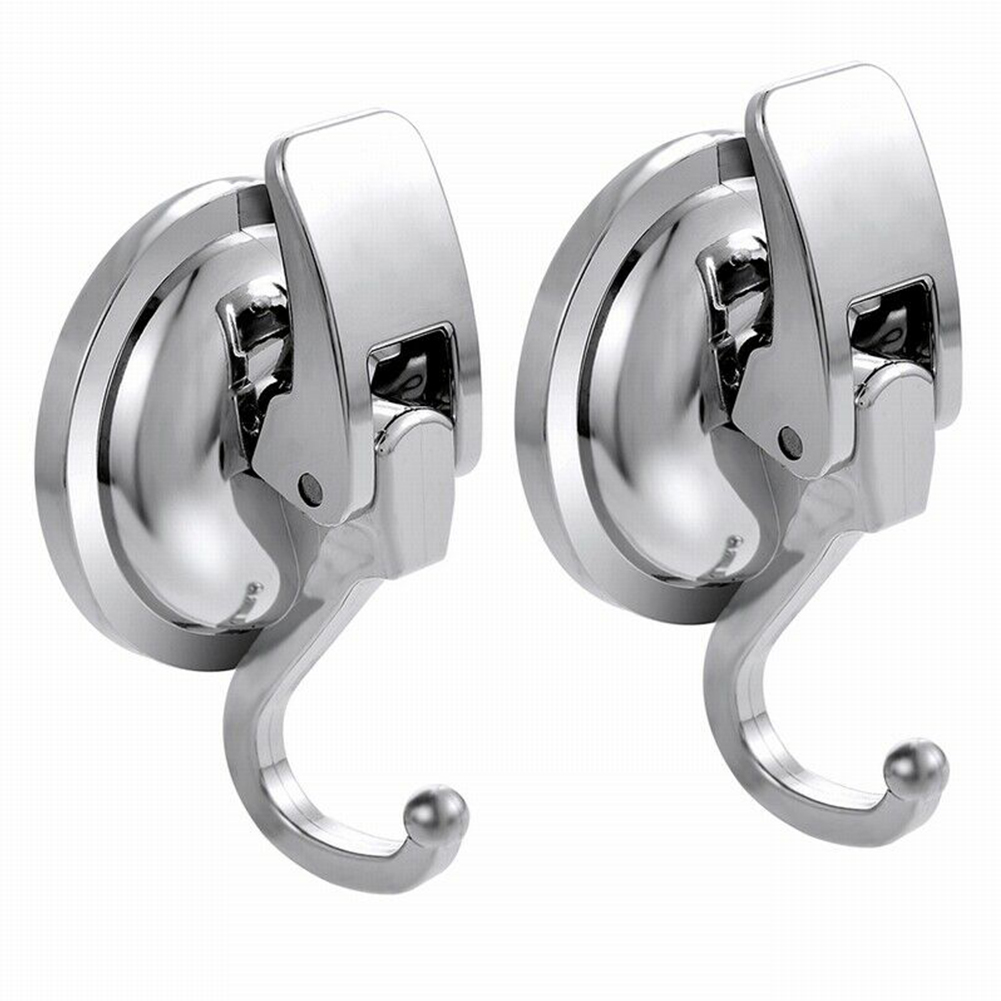 2PCS Bathroom TPU Removable Wall Silver Towel Vacuum Suction Cup Kitchen Hanger Shower Hook Punch Free Holder Door