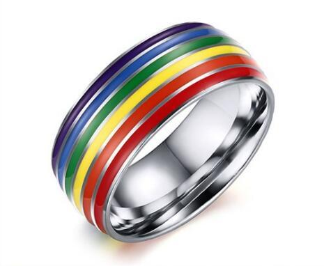 Mens Womens Rainbow Colorful LGBT Ring Stainless Steel Wedding Band Lebian & Gay Rings Drop Shipping 5